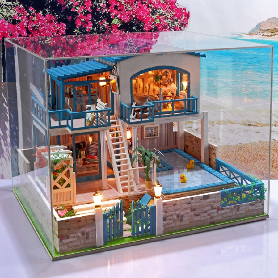 Diy Kit Dollhouse Beach Deluxe House With Swimming Pool Out Of Order