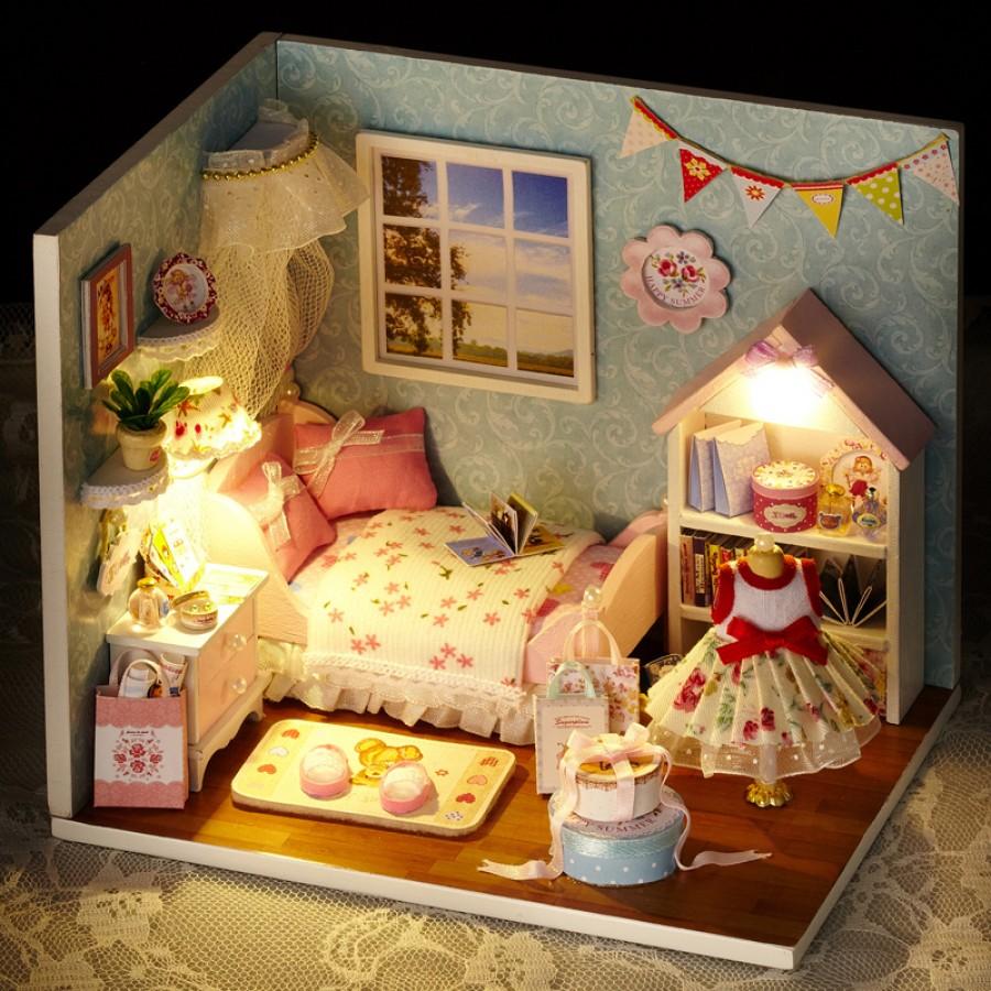 "HAPPY MOMENT DOLLHOUSE MINIATURE DIY KIT W// LIGHTS /""HAPPY LIFE SERIES/"",H-010"
