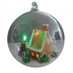 DIY KIT: Mini Glass Ball - White Christmas House