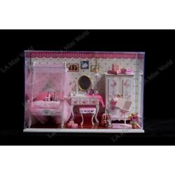 "DIY KIT: LED Light Crystal Dollhouse Miniature ""Dream of Pink"""