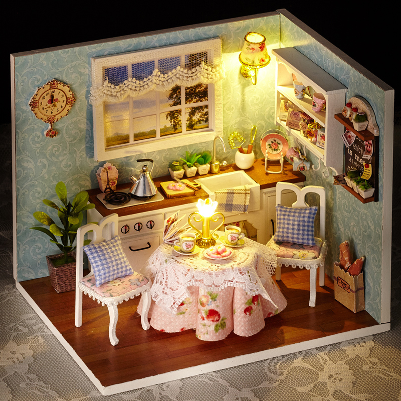 "Mini Kitchen Room Box: DOLLHOUSE MINIATURE DIY KIT W/ LIGHTS, ""HAPPY LIFE SERIES"
